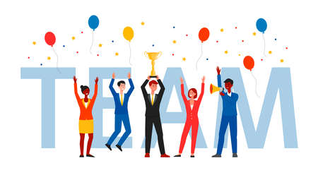 Award and prize for successful teamwork, achievement and victory. Gold cup and reward for work of a team of workers, businessmans and employees of company. Isolated flat cartoon vector illustration.