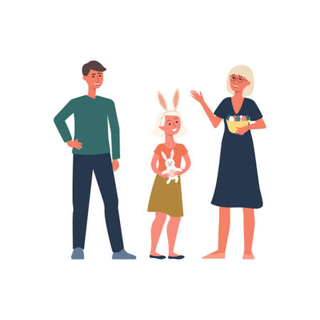 Religious Christian family celebrate Easter, woman, man and girl. Christian mom with eggs, dad and daughter with rabbit ears celebrate Easter. Flat cartoon vector illustration of a religious family. Vettoriali