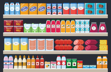 Supermarket shelves with assortment food products and drinks flat colorful cartoon vector illustration. Grocery market interior retail stands background. Vetores
