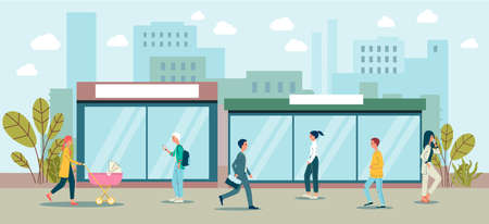 Cartoon people walking in downtown city landscape - urban street cityscape with men and women taking a walk in neighborhood. Flat banner vector illustration 일러스트