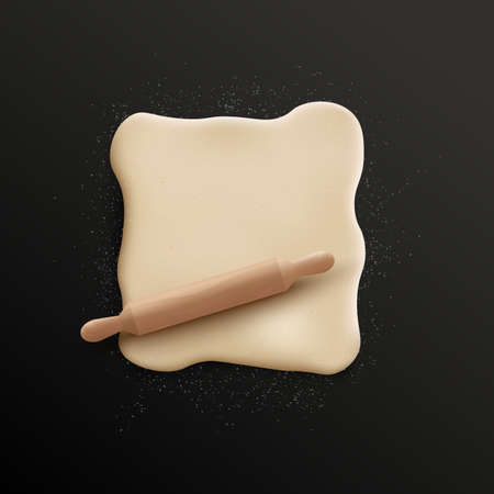 Realistic rolled dough in square shape sprinkled with white flour and wooden rolling pin isolated on black background - food cooking ingredient vector illustration