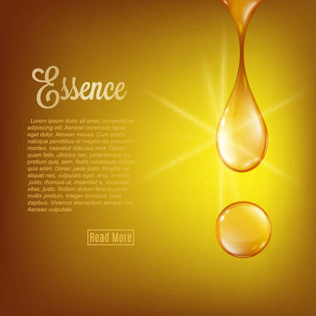 Golden essence oil falling drops on yellow background with copy space, 3d realistic vector illustration. Collagen essence or serum droplets for cosmetics, beauty and spa. Vettoriali