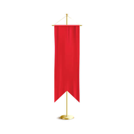 Realistic red medieval banner flag on golden pole isolated on white background - luxury silk fabric cloth with double pointed ends and blank copy space. Vector illustration