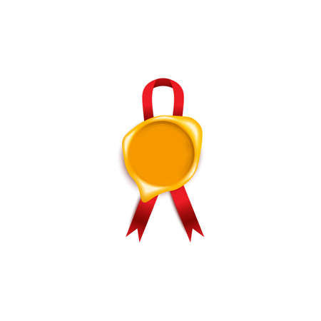 Yellow candle wax seal or certification stamp with red ribbon realistic vector illustration isolated on white background. Mail vintage medal the symbol of quality.