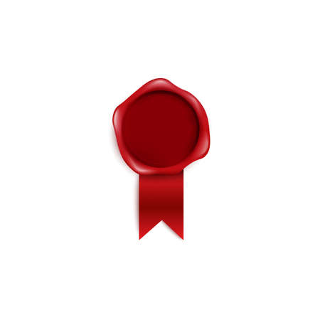 Wax red seal or guarantee certification stamp with red ribbon realistic vector illustration isolated on white background. Certification of quality emblem sign.