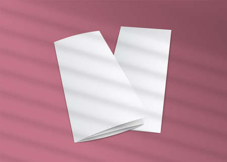 Blank trifold brochure mockup with striped window shades shadow overlay on pink background - realistic mock up of white paper flyers, vector illustration