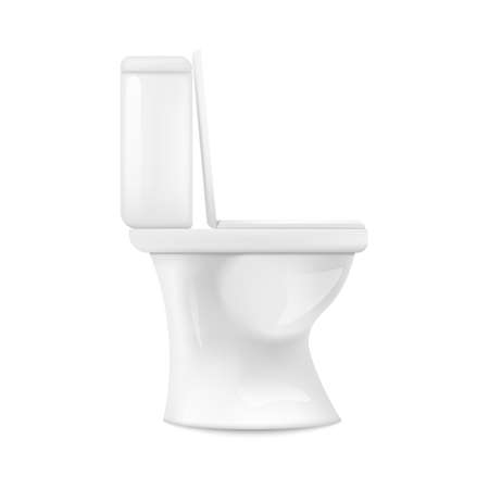 Realistic white ceramic toilet from side view isolated on white background - modern bathroom fixture with sparkly clean shiny surface. Vector illustration