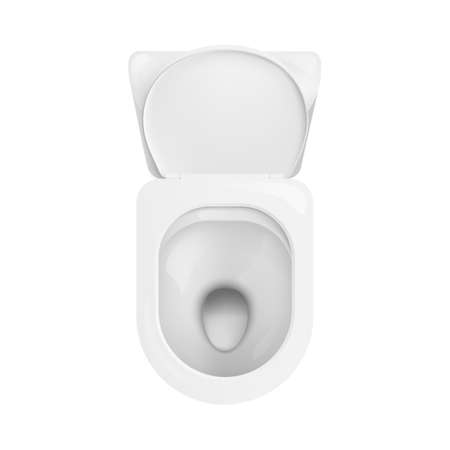 Super clean ceramic toilet bowl seen from top view - modern bathroom lavatory fixture isolated on white background - realistic 3D vector illustration