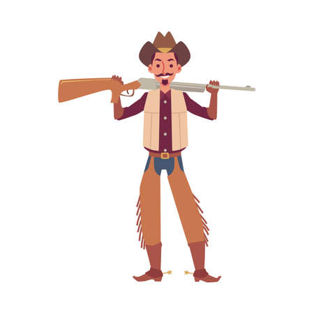 Cartoon cowboy holding rifle gun isolated on white background - young man in cowboy hat and costume standing and smiling. Dangerous bandit - flat vector illustration