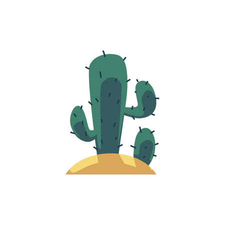 Mexican cactus plant icon flat cartoon vector illustration isolated on white background. Desert or tropical cacti for cards and prints, summer botanic decor element.