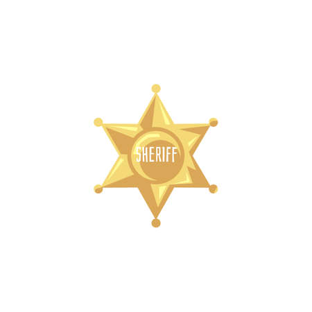 Flat golden sheriff badge isolated on white background - vintage American Western style police marshall sign from gold metal. Cartoon icon - vector illustration.