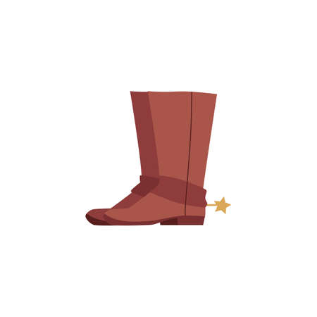 Brown cowboy boots with spurs isolated on white background. Traditional Western leather shows with golden star spur - vintage fashion element flat vector illustration