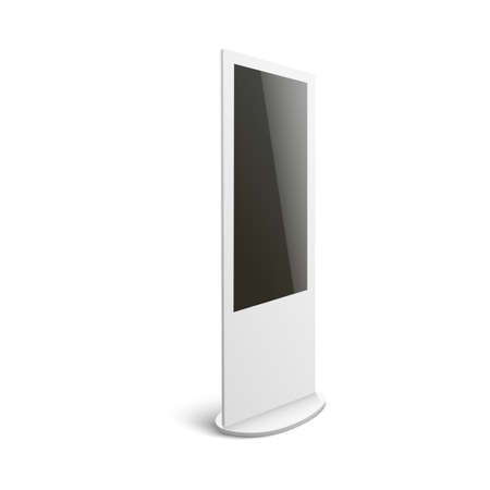 Isolated mockup of white interactive digital kiosk for advertising with blank black screen seen from side view - computer terminal display on white background, vector illustration