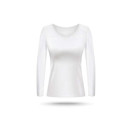 White blank female shirt with long sleeve and crew-neck mockup realistic vector illustration isolated on white background. Women base clothing or underwear template.