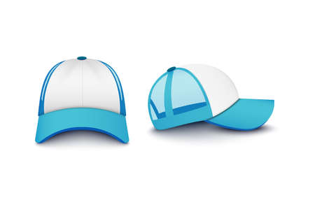 Realistic light blue snapback basketball cap mockup set from front and side view - trucker sport hat merchandise design templates. Isolated vector illustration.