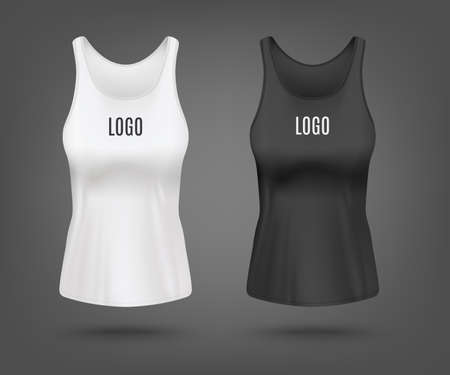 White and black womens tank top mockup set with text logo template - realistic shirt template from front view. Female sportswear mock up - vector illustration.