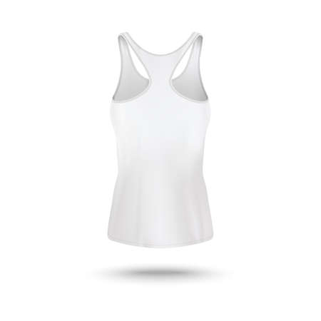 White womens tank top - realistic mockup from back view isolated on white background. Female sportswear design template on sleeveless sport shirt - vector illustration.