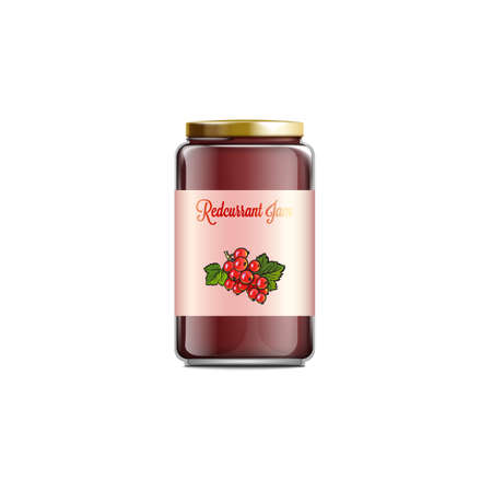 Redcurrant jam jar mockup isolated on white background. Realistic glass container with red currant berry jelly and pink label - vector illustration.