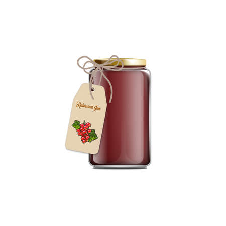 Realistic glass jar of redcurrant jam with hanging gift tag on a ribbon cord - isolated food preserve container with label template with berry drawing, vector illustration Illustration