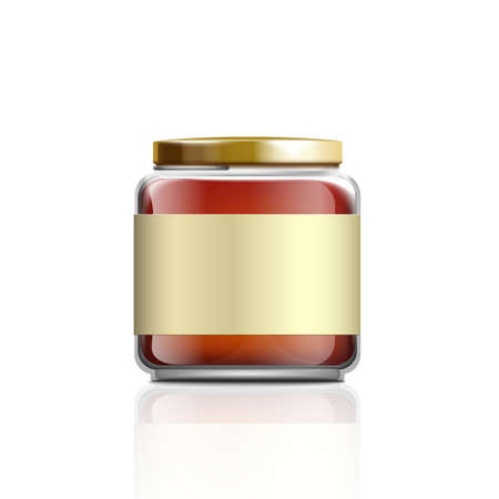 Small glass honey jar mockup with blank label template isolated on white background - realistic dessert food container with gold metal lid. Vector illustration.