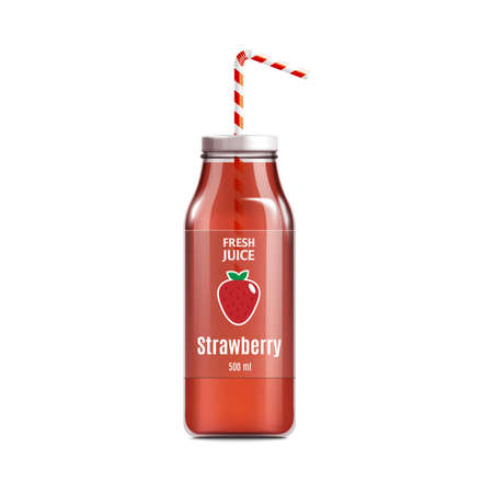 Fresh strawberry juice glass bottle with label and straw realistic vector illustration mockup isolated on white background. Healthy drink packaging template for advert.