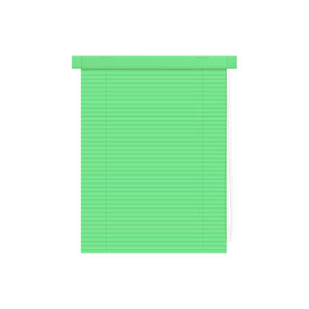 Mint plastic venetian blinds or jalousie, 3d realistic vector illustration mockup isolated on white background. Home or office rolling curtains design template.