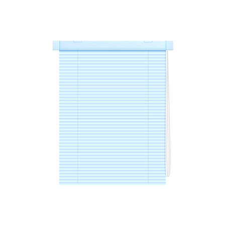 Blue plastic roll up blinds or curtains for shade and privacy, realistic vector illustration mockup isolated on white background. Template of house decoration element.