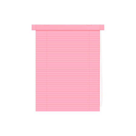 Window pink plastic blinds or jalousie closed, 3d realistic vector illustration mockup isolated on white background. Home decor design template or layout.