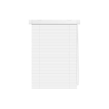 Plastic blinds or horizontal rolling shutters, 3d realistic vector illustration mockup isolated on white background. Window curtains from plastic stripes template.