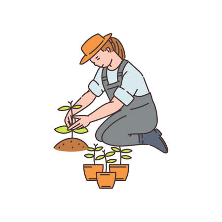 Agronomist or farmer worker woman cartoon character working in greenhouse or field, sketch vector illustration isolated on white background. Agriculture and food growing.