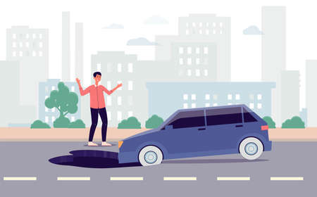 Car in highway falling into asphalt hole - cartoon man looking in shock at automobile pothole accident on cityscape backdrop. Flat vector illustration.