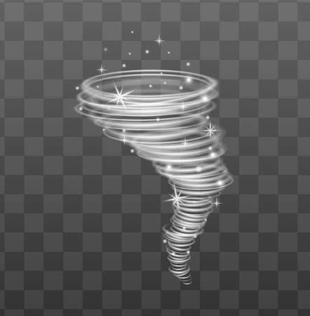 Lighting glowing whirlwind or tornado, 3d realistic vector illustration isolated on transparent background. Sparkling twisting hurricane effect or decorative element.