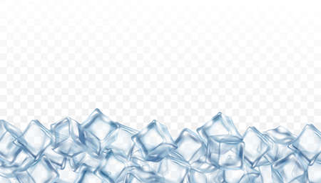 Banner template with clear crystalline blue ice cubes, 3d realistic vector illustration isolated on transparent background. Layer of crushed cocktail icy.