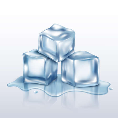 Melting ice cubes pile, realistic mockup vector illustration on white background. Crystal clear icicles blocks for cocktails and drinks chilling - template.