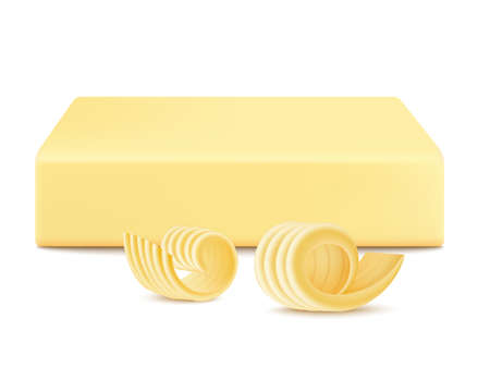 Yellow stick or piece of butter with curled slices, realistic vector illustration isolated on white background. Margarine or spread, fatty natural dairy product template. Vettoriali