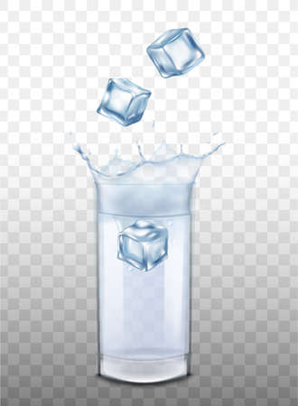 Mockup or template with ice cubes falling into glass of water or clear alcohol drink with splash, realistic vector illustration isolated on transparent background.