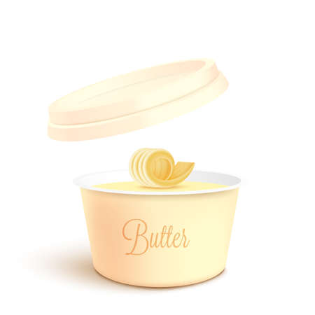 Unlabeled empty round container for butter, melted cheese or margarine spread mockup, realistic vector illustration isolated on white background. Dairy product template. Vettoriali
