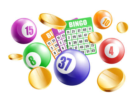 Bingo poster with realistic game equipment falling from above - colorful number balls, gold coins and lotto tables isolated on white background. Vector illustration.