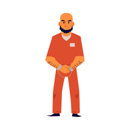 Angry criminal man in orange prison uniform isolated on white background - bald cartoon prisoner in handcuffs standing with mad face - flat vector illustration.