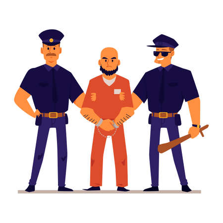 Cartoon policemen holding handcuffed criminal in orange prison uniform - angry male prisoner standing with two police officers. Flat isolated vector illustration. Ilustracje wektorowe
