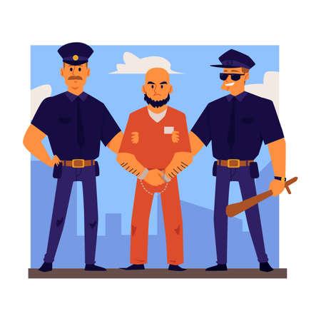 Police officers male cartoon characters in uniform arrest or escort criminal, flat vector illustration on city skyline background. Crime and law concept. Illusztráció
