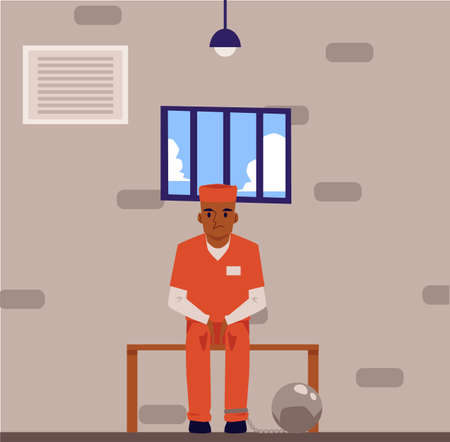 Prisoner in orange suit and legs shackles cartoon character sitting on bench in jail cell, flat vector illustration on prison interior background. Crime and justice.
