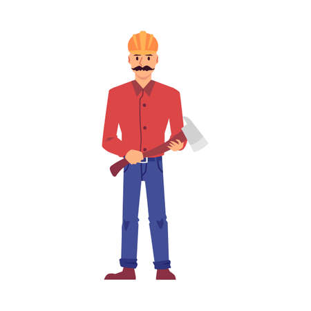 Builder man holding an axe and wearing safety helmet standing isolated on white background. Cartoon construction worker with metal tool - flat vector illustration. Ilustración de vector