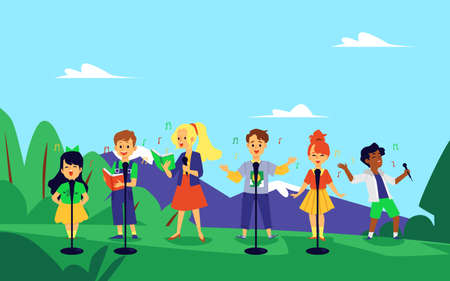 Kid music choir singing in nature - cartoon children performing a song in summer park with microphones and lyric books. Elementary school band -flat vector illustration Vettoriali