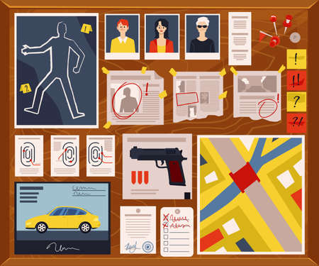 Detective crime board with murder weapon and evidence, criminal suspect photos, newspaper clippings and notes. Police investigation board - flat vector illustration.