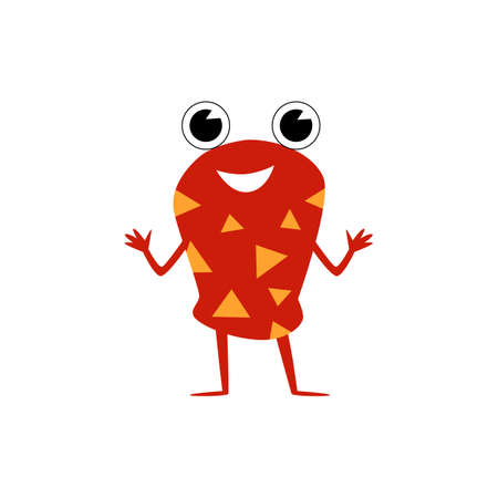 Cute red childish monster cartoon character with big eyes flat vector illustration isolated on white background. Funny fantasy animal image for textile prints. Ilustração