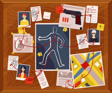Evidence board for police detective murder investigation with suspect photos, victim body outline and newspaper clippings connected with red thread. Vector illustration Illusztráció