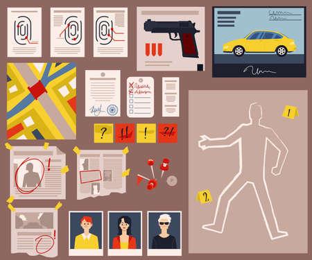 Crime scene detective board with criminal evidence, fingerprints, murder victim body outline and newspaper clippings. Flat cartoon vector illustration. Illusztráció