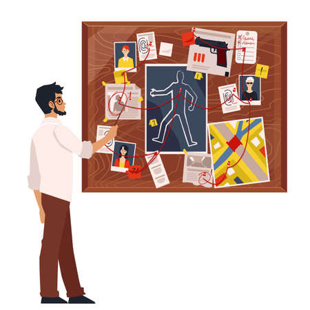Cartoon detective man looking at crime board with murder investigation elements, evidence and suspect photographs connected by red thread. Flat isolated vector illustration Vettoriali