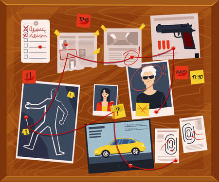 Detectives board with pinned photos, newspapers and notes, flat vector illustration. Police criminal investigation - evidences and information for solve the crime.